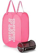 Victorias Secret PINK Laundry Basket Bag Hamper & Intimates Bag Mesh Pink Black