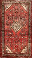 Red Geometric Vintage Traditional Oriental Area Rug Hand-Knotted Wool Carpet 3x6