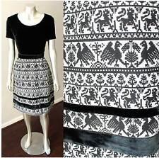 Aztec Wool Vintage 60s Animal Print Mod Gogo Party Velvet Black White Dress Sz S