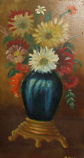 Impressionist oil painting still life with flowers signed