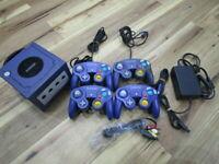 Nintendo Gamecube Console Violet w/4controller AC Cable GC Japan B850