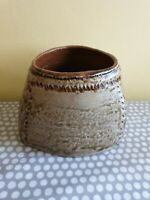 Studio Pottery Ceramic Triangular Shaped Planter With Hessian Stitched Design