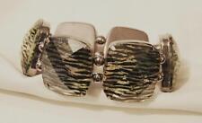 Handsome Dark Silvertone Greenish Zebra Stripes Rectangles Cuff Bangle Bracelet