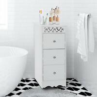 HOMCOM 3 Drawer Bathroom Cabinet Storage Unit wood Cupboard Furniture White