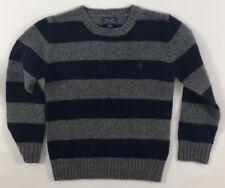POLO RALPH LAUREN Boys' Kids' Navy/Gray Striped Jumper, 100% Wool, 6 years