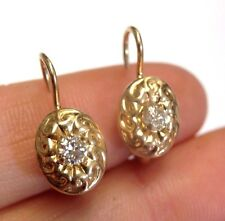 Pretty Antique Victorian Style Solid 14K Gold .33CT Mine Cut Diamond Earrings
