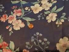 COTTON SEWING QUILTING FABRIC BY THE YARD PINK AND WHITE FLOWERS ON A NAVY BG