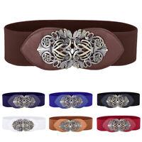 Women Vintage Floral Buckle Narrow Stretchy Elastic Waist Belt Waistband Elegant