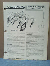 Simplicity Tractor # 209 Rear Cultivator Assembly, Owners Parts Manual Original