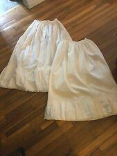 Antique vintage Edwardian lot of 2 white cotton petticoats