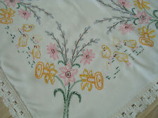 Gorgeous Vintage Hand Embroidered Easter Linen Tablecloth Table runner