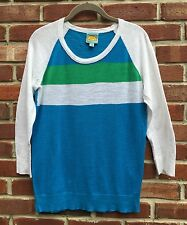 C&C CALIFORNIA BLUE WHITE GREEN STRIPE NECK SWEATER SHIRT TOP SMALL S *
