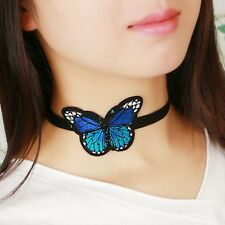 Embroidery Blue Butterfly Necklace Choker Collar Necklace Women Black Velvet Hot