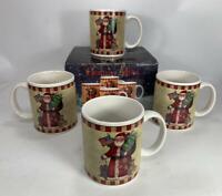 4 Certified International Susan Winget Holiday 12 OZ Coffee Mugs Cups SANTA
