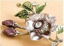 SILVER PLATED AUSTRIAN CRYSTAL PURPLE FLOWER BROOCH