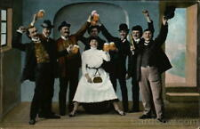 Breweriana Men And Woman Celebrating With Beer Postcard Vintage Post Card