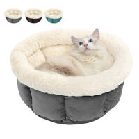 Soft Fleece Round Dog Pet Bed Calming Cat Nest Bed House Cushion Kennel Washable