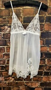 Fredrick's of Hollywood White Sheer Mesh Lace Front Women's Chemise Size S