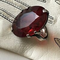 Antique C 20s Art Deco silver ring Large Sparkly Red Ruby Paste Adjustable