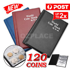 2X AU Holder 120 Coins Collection Album Storage Money Penny Book Collecting