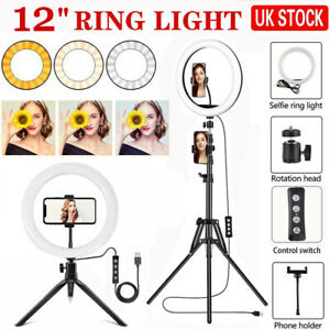 12'' LED Ring Light Dimmable Lighting Kit Phone Selfie Tripod Stand Lamp Live