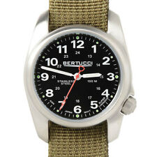 Bertucci A-1S Black Dial Stainless Steel Field Watch, Nylon Strap #10112