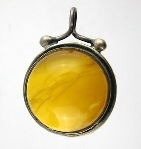 AZ 925 Polish Sterling Silver Butterscotch Amber Double Sided Pendant Egg Yolk