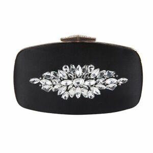 Women Evening Clutch Bag Crystal Diamond Flower Bridal Wedding Party Handbag New