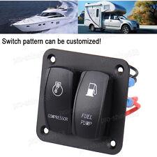 Car Marine Boat 12V 24V On Off Light 2 Gang Rocker Switch Panel Blue 5 Pin #1