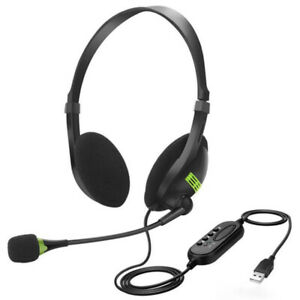 USB Wired Headset with Microphone Mic Headphones For PC Computer Centre Call