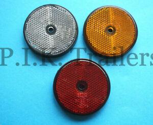 60mm Round Reflectors for Driveway Posts, Garden Walls, Trailers etc