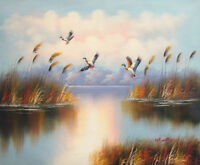 LMOP154 fine hand-painted lakescape landscape bird OIL PAINTING on CANVAS ART