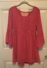 Altar'd State Coral Dress Size XS - Bell Sleeve with Lace Insets - Flare Dress