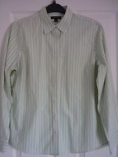 LANDS 'END vert pâle blanc cassé à rayures No Iron Shirt. UK 14, EUR 42-44, US 10
