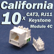 10 X Pcs CAT3 Keystone Jack RJ11 6P4C Phone Telephone RJ12 Modular White CAT 3