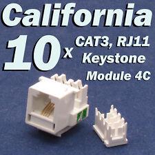 10 X Pcs CAT3 Keystone Jack RJ11 6P4C Phone Telephone RJ12 Modular White CAT 3