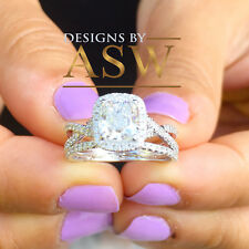 14K SOLID WHITE GOLD CUSHION SIMULATED DIAMOND ENGAGEMENT RING AND BAND 2.50ct