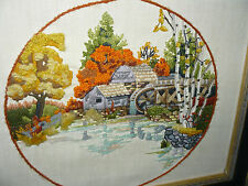 Embroidered / Needlepoint Mill by Creek with Birch Trees in Autumn Framed 23X19