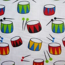 White Polycotton Fabric with Multicolour Drums Print *Per Metre