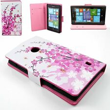 Pink Flower Leather Flip Wallet Slots Card Pouch Cover Case for Nokia Lumia 520