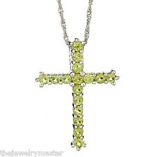 1.60 CARAT WOMENS PERIDOT CROSS PENDANT 925 STERLING SILVER