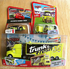 Disney PIXAR Cars TRUNK FRESH HAULER & RACER & PITTY diecast lot 3 RARE bundle