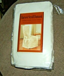 Harvest Scroll Damask Dining Room Ivory Chair Cover NIP