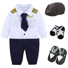 Newborn baby boy party birthday gift bodysuit+hat+socks+shoes costume pilot