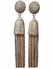 Luxurious Long Hanging Metallic Dangle Tassel Drop Earrings in Bronze Gold