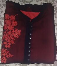 Red & Black A-Line Embroidery Indian Georgette Kurta
