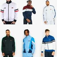Ellesse Jet Track Zip Up Sweat Top Retro Varsity Jacket in Black, White & Blue
