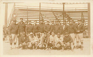 "1915-1930 Baseball Team ""D"" on Players Hats Real Photo Postcard"