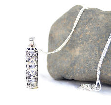 Sterling Silver Mezuzah Pendant & Chain .With -Magen David Star of David israel