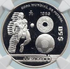 1985 Mo MEXICO FIFA World Cup 86 Football PROOF Silver 50 Peso Coin NGC i85069